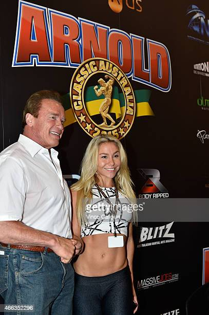 Arnold Schwarzenegger poses for photos during the Arnold Classic at The Melbourne Convention and Exhibition Centre on March 15 2015 in Melbourne...