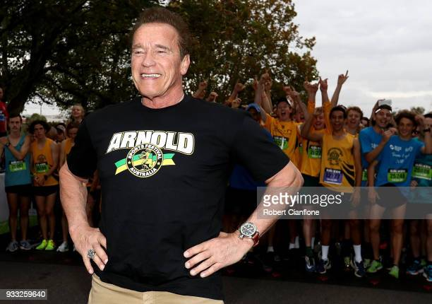 Arnold Schwarzenegger prepares to start the Run for the Kids charity run as part of the Arnold Sports Festival Australia at at the Alexander Gardens...