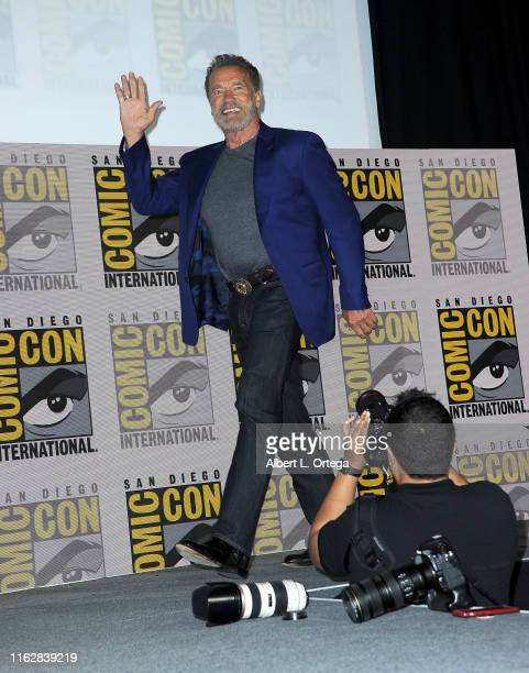 Arnold Schwarzenegger speaks at the Terminator Dark Fate panel during 2019 ComicCon International at San Diego Convention Center on July 18 2019 in...