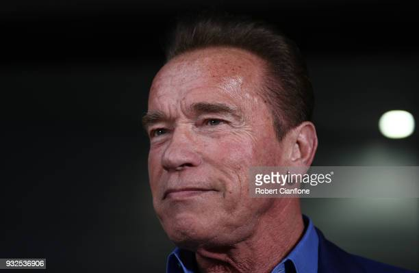 Arnold Schwarzenegger speaks during a press conference at The Melbourne Convention and Exhibition Centre on March 16 2018 in Melbourne Australia