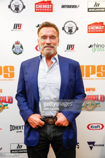 Arnold Schwarzenegger speaks during a press conference on March 15 2019 in Melbourne Australia
