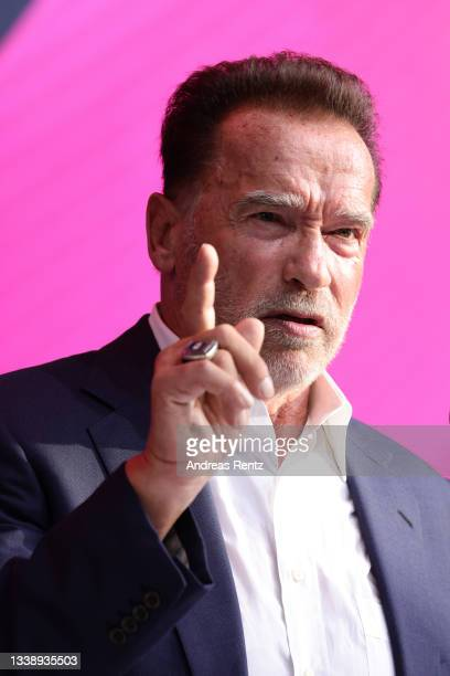 Arnold Schwarzenegger speaks in his keynote about digital sustainability during the Digital X event on September 07, 2021 in Cologne, Germany. More...