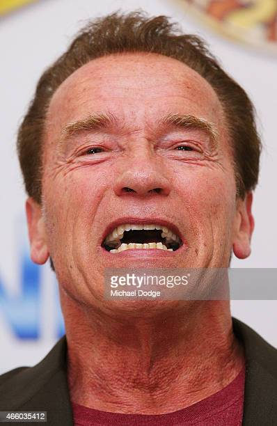 Arnold Schwarzenegger speaks to media during the Arnold Classic press conference at The Melbourne Convention and Exhibition Centre on March 13 2015...