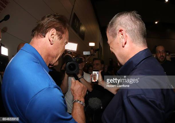 Arnold Schwarzenegger speaks to the daughter of Labor leader Bill Shorten during the 2017 Arnold Classic at The Melbourne Convention and Exhibition...