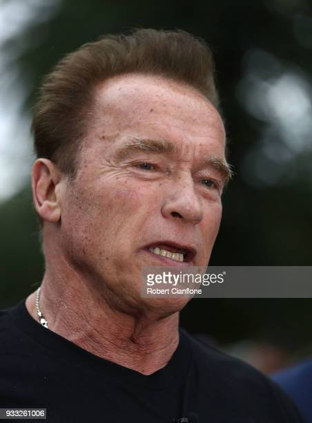 Arnold Schwarzenegger speaks to the media as he prepares to start the Run for the Kids charity run as part of the Arnold Sports Festival Australia at...