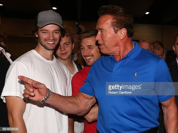 Arnold Schwarzenegger speaks with his son Patrick during the 2017 Arnold Classic at The Melbourne Convention and Exhibition Centre on March 17 2017...