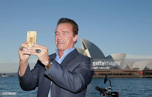 Arnold Schwarzenegger takes a selfie during a 'Terminator Genisys' photo call at the Park Hyatt Sydney on June 4 2015 in Sydney Australia