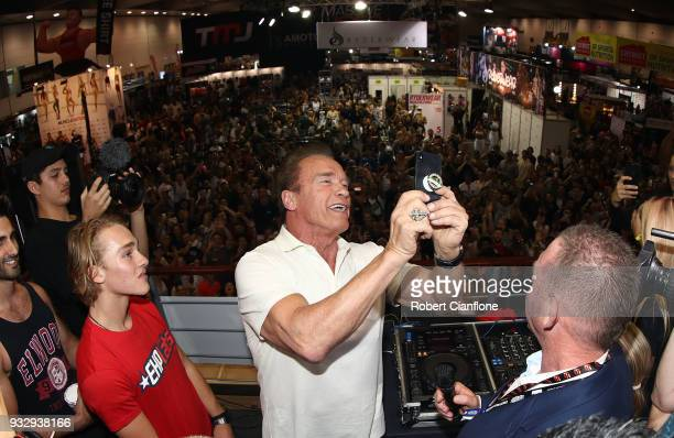 Arnold Schwarzenegger takes in the exhibits during the Arnold Sports Festival Australia at The Melbourne Convention and Exhibition Centre on March 17...