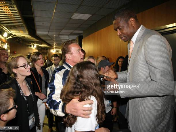 ef0882d6b Arnold Schwarzenegger talks with Dikembe Mutombo during the NBA AllStar  Game as a part of 2018