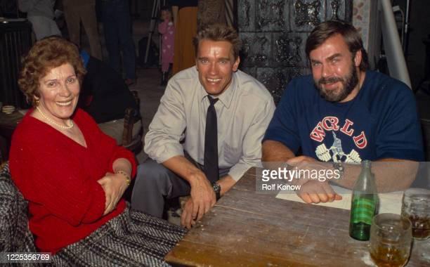 Arnold Schwarzenegger with his mother Aurelia and SvenOle Thorsen