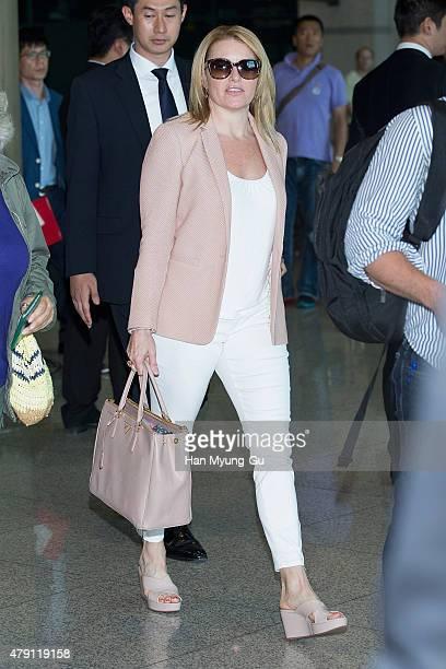 Arnold Schwarzenegger's girlfriend Heather Milligan is seen upon arrival at Incheon International Airport on July 1 2015 in Incheon South Korea