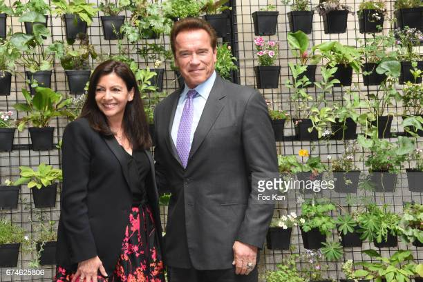 Arnold Schwazenegger and Mayor of Paris Anne Hidalgo attend Paris Mayor Anne Hidalgo Receives Arnold Schwarzenegger In Hotel de Ville de Paris on...