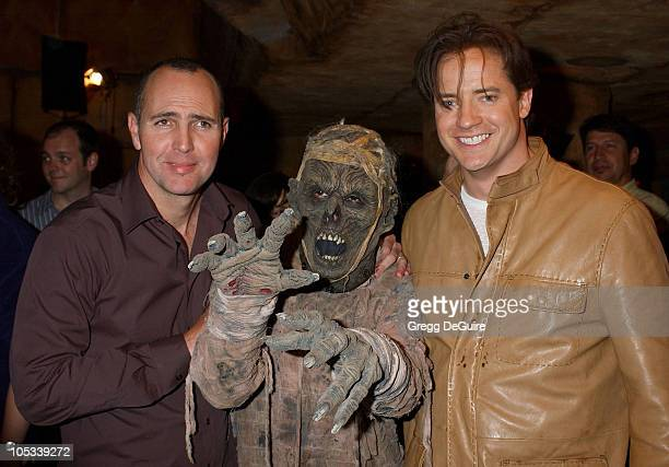 Arnold Vosloo and Brendan Fraser during The Revenge Of The Mummy The Ride Opening At Universal Studios at Universal Studios in Universal City...
