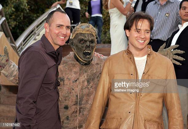 Arnold Vosloo Mummy and Brendan Fraser during The Revenge of the Mummy The Ride Opening at Universal Studios Hollywood at Universal Studios Hollywood...