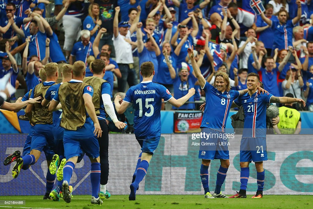 Arnor Ingvi Traustason (R) of Iceland celebrates his team's second goal with team mates during the UEFA EURO 2016 Group F match between Iceland and Austria at Stade de France on June 22, 2016 in Paris, France.