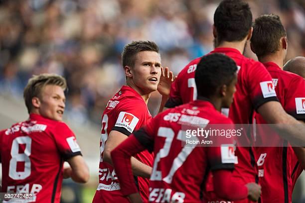 Arnor Ingvi Traustason of IFK Norrkoping celebrates after scoring the opening 01 goal during the Allsvenskan match between IFK Goteborg and IFK...