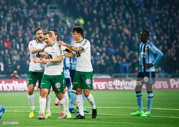 Arnor Smarason Johan Persson Erik Israelsson and Melker Hallberg of Hammarby IF celebrates after Aleksander Medieros de Aseredo of Hammarby IF scored...