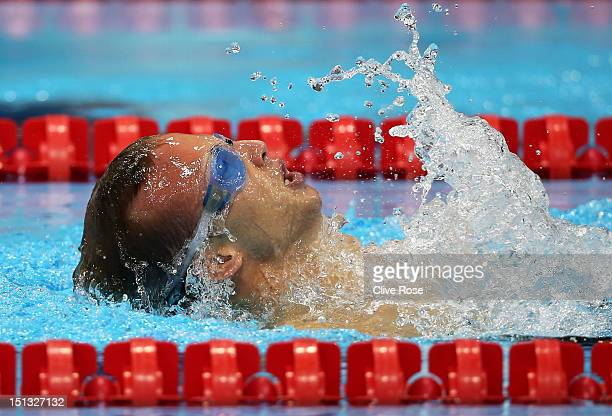 Arnost Patracek of Czech Republic competes in the Men's 50m Backstroke S4 heat 1 on day 8 of the London 2012 Paralympic Games at Aquatics Centre on...