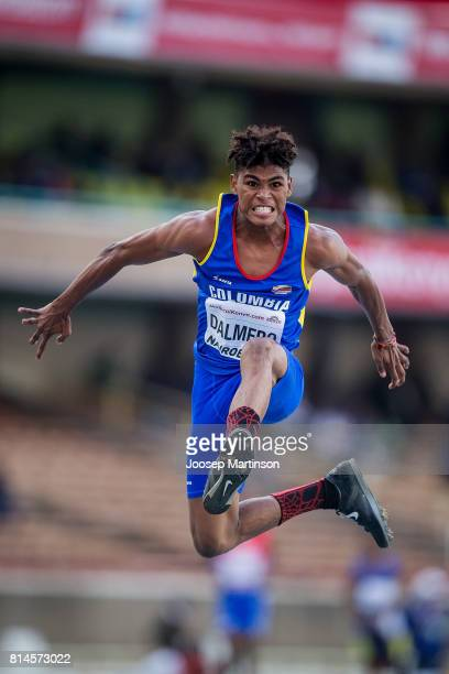 Arnovis de Jesus Dalmero of Colombia competes in the boys triple jump final during day 3 of the IAAF U18 World Championships at Moi International...