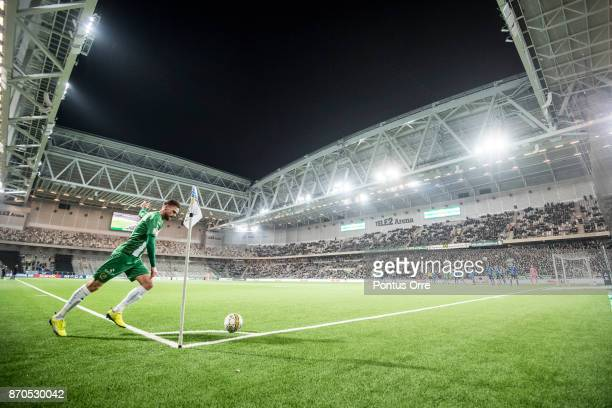Arnór Smárason of Hammarby IF shoots a corner during the Allsvenskan match between Hammarby IF and Halmstad BK at Tele2 Arena on November 5 2017 in...