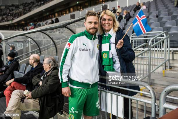Arnór Smárason of Hammarby IF together with his mother prior to the Allsvenskan match between Hammarby IF and Halmstad BK at Tele2 Arena on November...