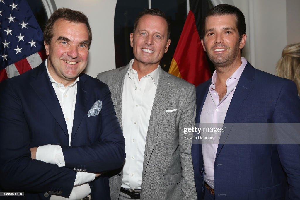 Arnulf Damerau, Ambassador Richard Grenell and Donald Trump Jr. attend Ambassador Grenell Goodbye Bash on May 6, 2018 in New York City.