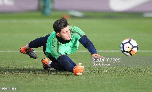 Aro Muric in action during training at Manchester City Football Academy on February 17 2018 in Manchester England