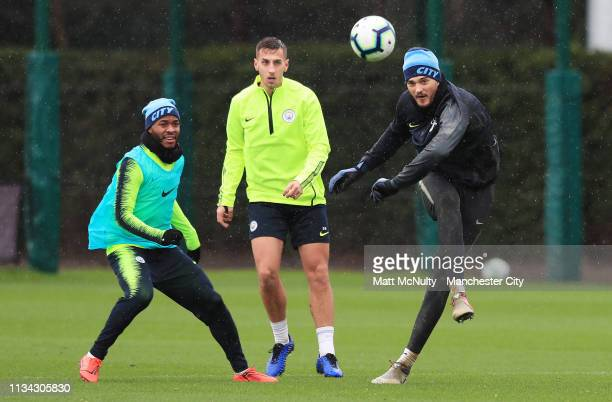 Aro Muric of Manchester City clears the ball during the training session at Manchester City Football Academy on March 07 2019 in Manchester England