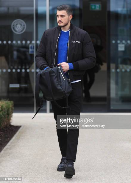 Aro Muric of Manchester City departs the Manchester City Football Academy for the team flight to Schalke on February 19 2019 in Manchester England