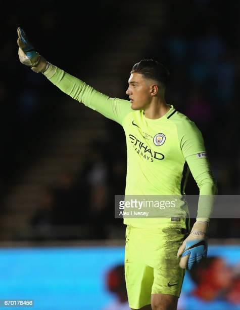 Aro Muric of Manchester City during the FA Youth Cup Final first leg match between of Manchester City and Chelsea at The Academy Stadium on April 18...