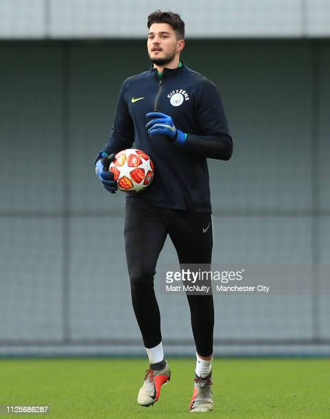 Aro Muric of Manchester City during the training session at Manchester City Football Academy on February 18 2019 in Manchester England