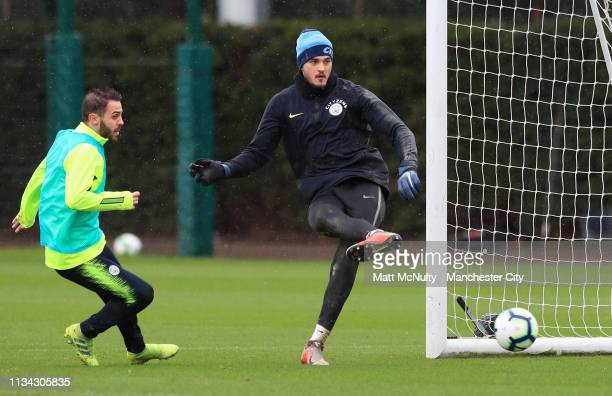 Aro Muric of Manchester City in action during the training session at Manchester City Football Academy on March 07 2019 in Manchester England