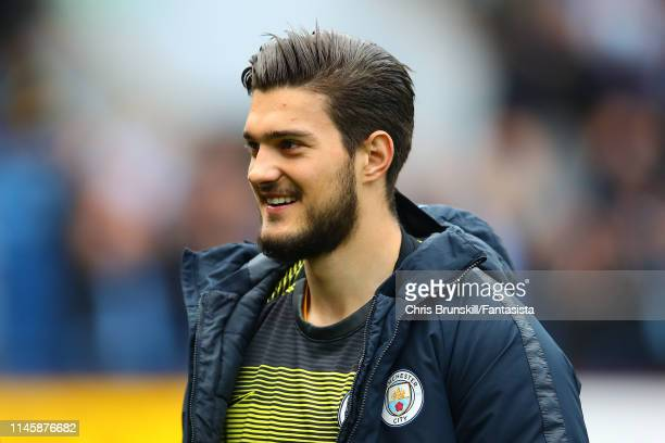 Aro Muric of Manchester City looks on during the Premier League match between Burnley FC and Manchester City at Turf Moor on April 28 2019 in Burnley...