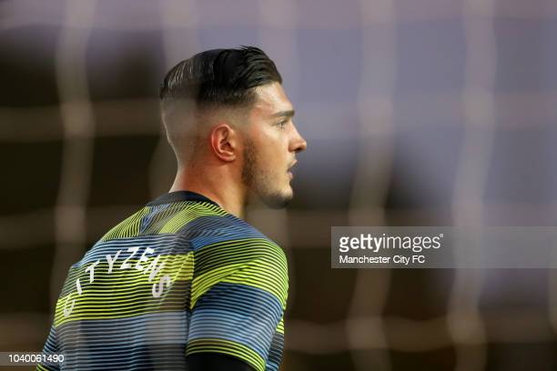 Aro Muric of Manchester City looks on during the warm up prior to the Carabao Cup Third Round match between Oxford United and Manchester City at...