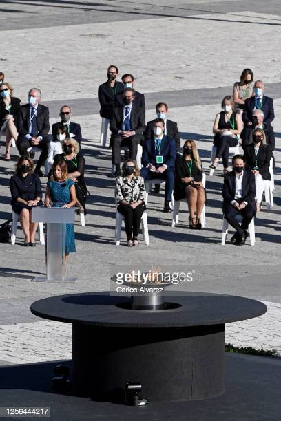 Aroa López nurse at the Vall d'Hebron hospital in Barcelona speaks during the State tribute to the victims of the coronavirus at the Royal Palace on...