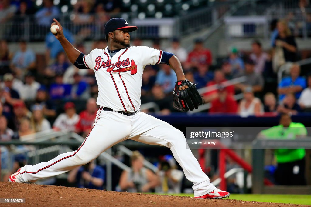 Arodys Vizcaino #38 of the Atlanta Braves pitches during the ninth inning against the Washington Nationals at SunTrust Park on May 31, 2018 in Atlanta, Georgia.