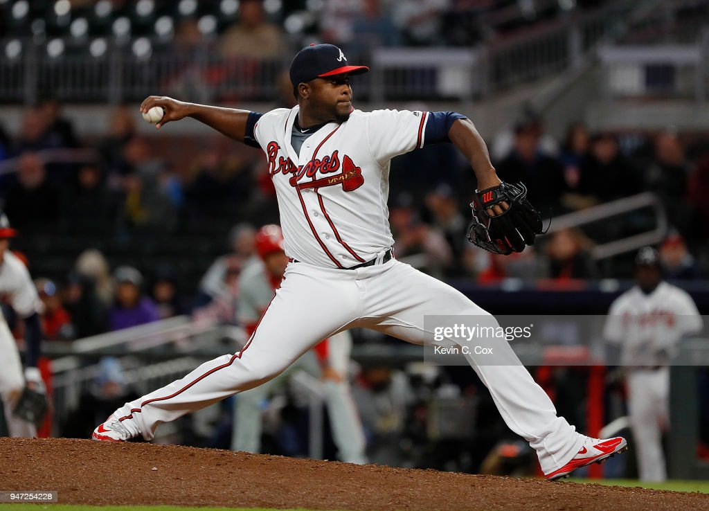 Arodys Vizcaino #38 of the Atlanta Braves pitches in the ninth inning against the Philadelphia Phillies at SunTrust Park on April 16, 2018 in Atlanta, Georgia.