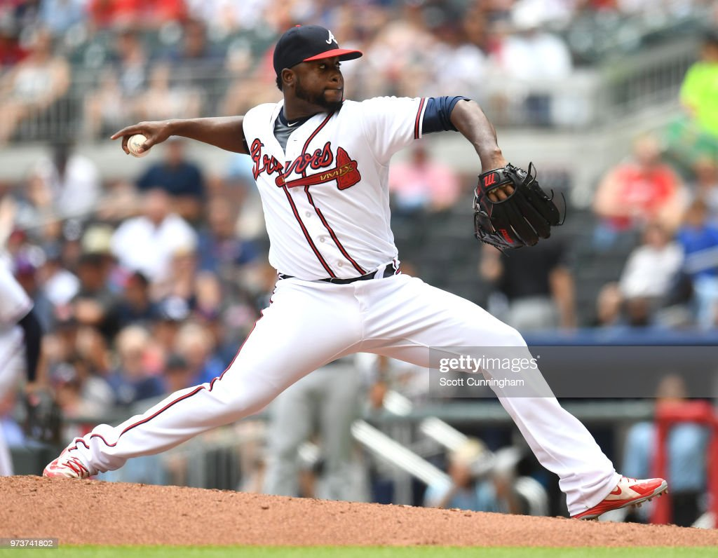 Arodys Vizcaino #38 of the Atlanta Braves throws a ninth inning pitch against the New York Mets at SunTrust Field on June 13, 2018 in Atlanta, Georgia.