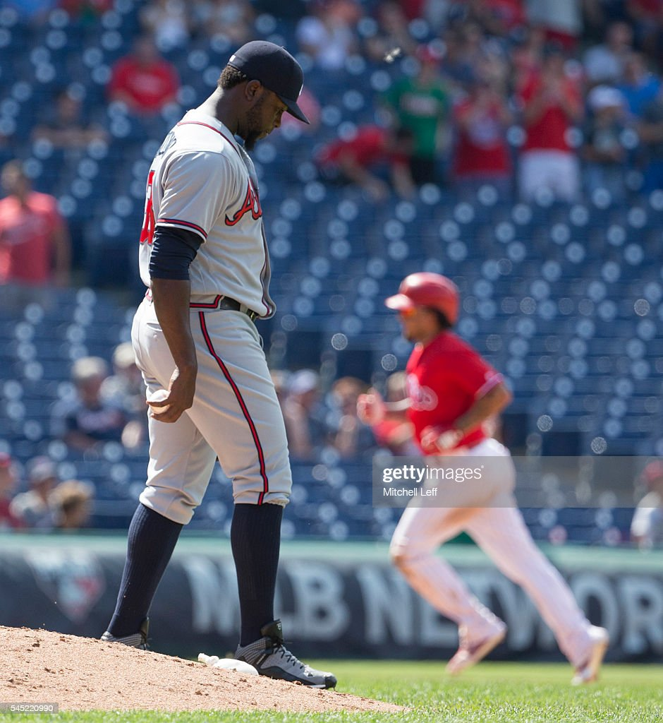 Arodys Vizcaino #38 of the Atlanta Braves walks around the mound after giving up a two run home run to Freddy Galvis #13 of the Philadelphia Phillies in the bottom of the eighth inning at Citizens Bank Park on July 6, 2016 in Philadelphia, Pennsylvania. The Phillies defeated the Braves 4-3.