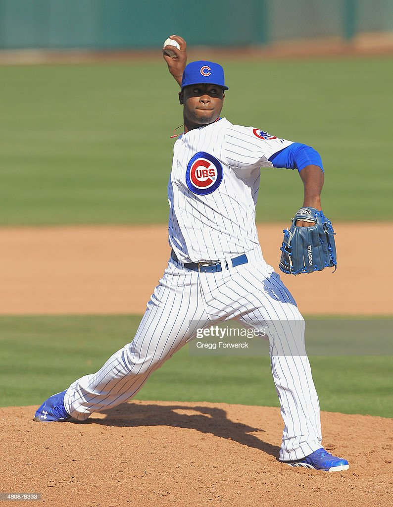Arodys Vizcaino #47 of the Chicago Cubs pitches against the Cleveland Indians during a spring training baseball game at Cubs Park on March 7, 2014 in Mesa, Arizona.