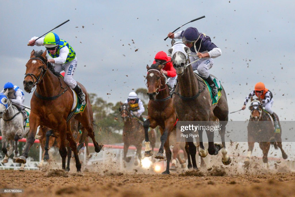 Arohata ridden by Luke Nolen wins the Briseis Cup Winter Challenge Synthetic Stayers Series Heat 1 at Geelong Synthetic Racecourse on June 30, 2017 in Geelong, Australia.