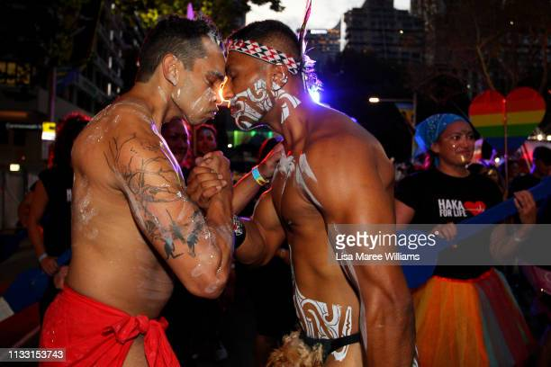 Arohi ChapmanBarber greets an indigenous performer during the annual Mardi Gras parade on March 02 2019 in Sydney Australia It is the first time Haka...