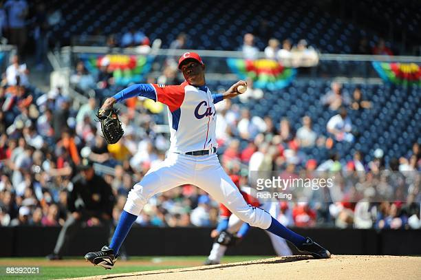 Aroldis Chapman of Cuba pitches against Japan during the Pool 1 Game 1 of the second round of the 2009 World Baseball Classic at Petco Park in San...