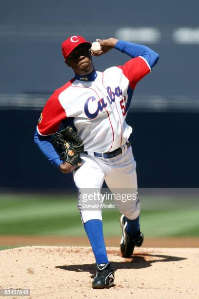 Aroldis Chapman of team Cuba pitches against team Japan during the 2009 World Baseball Classic Round 2 Pool 1 match on March 15 2009 at Petco Park in...