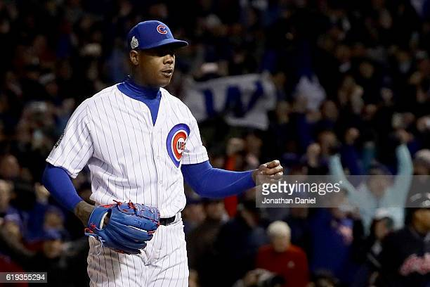 Aroldis Chapman of the Chicago Cubs celebrates after beating the Cleveland Indians 32 in Game Five of the 2016 World Series at Wrigley Field on...
