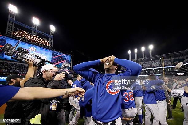 Aroldis Chapman of the Chicago Cubs celebrates after defeating the Cleveland Indians 87 in Game Seven of the 2016 World Series at Progressive Field...