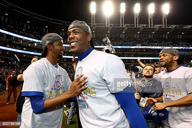 Aroldis Chapman of the Chicago Cubs celebrates after defeating the Cleveland Indians 8-7 in Game Seven of the 2016 World Series at Progressive Field...