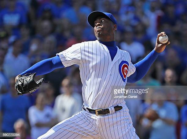 Aroldis Chapman of the Chicago Cubs pitches in the 9th inning against the Milwaukee Brewers at Wrigley Field on August 16 2016 in Chicago Illinois...