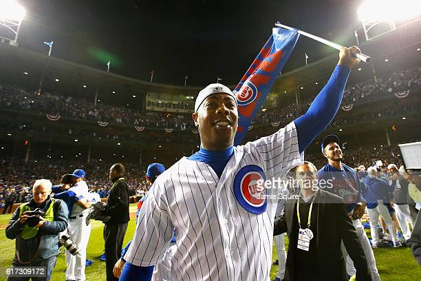 Aroldis Chapman of the Chicago Cubs reacts after defeating the Los Angeles Dodgers 5-0 in game six of the National League Championship Series to...