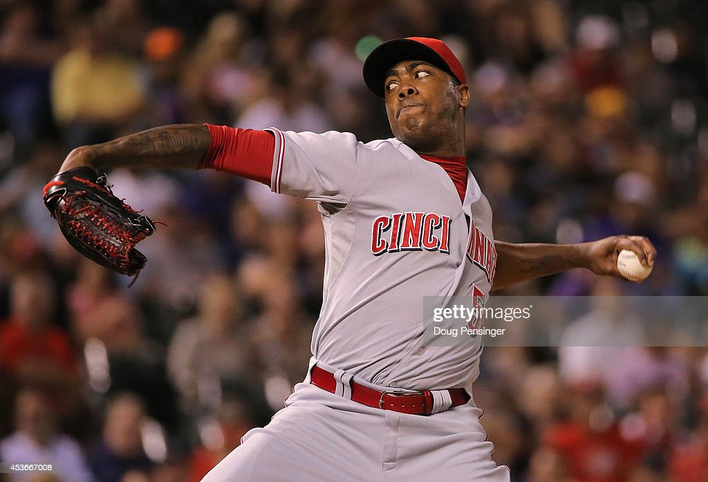 Aroldis Chapman #54 of the Cincinnati Reds delivers against the Colorado Rockies at Coors Field on August 15, 2014 in Denver, Colorado. Chapman earned the win as the Reds defeated the Rockies 3-2.